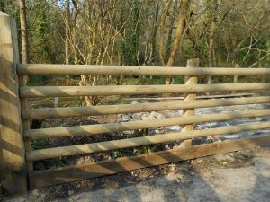 West Cornwall Fencing. Commercial post and rail fence with smooth planed finish.